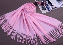 Pink Autumn Winter Thick Warm Shawl Scarf Chinese Women Faux Cashmere Blend Pashmina Wrap Solid Color Oversize 180 x 69 cm(China)
