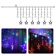 AC220V RGB Color Star Curtain Fancy LED String Light 138 LEDs Wedding Party Festival Garden Decoration Fairy Light Lamps(China)