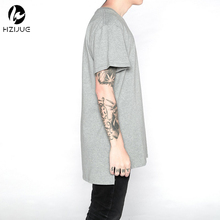 HZIJUE mens streetwear hiphop clothes kpop urban clothing kanye west justin bieber longline t shirts grey white extended t shirt