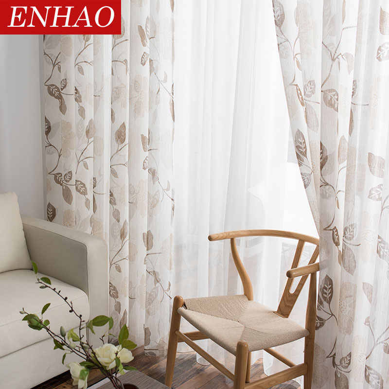 ENHAO Modern Floral Tulle Curtains for Living Room Bedroom Kitchen Printed Sheer Curtains for Window Tulle Curtains Drapes panel
