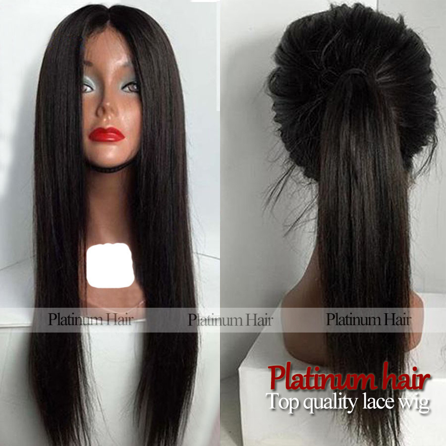 18-26 New Arrival Long Silky Straight Wigs Natural Black Color Glueless Heat Resistant Hair Synthetic Lace Front Wigs for Women<br><br>Aliexpress
