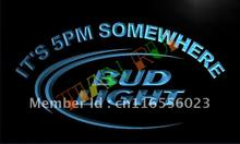 LA094- Bud Light It's 5 pm Somewhere Bar LED Neon Light Sign(China)