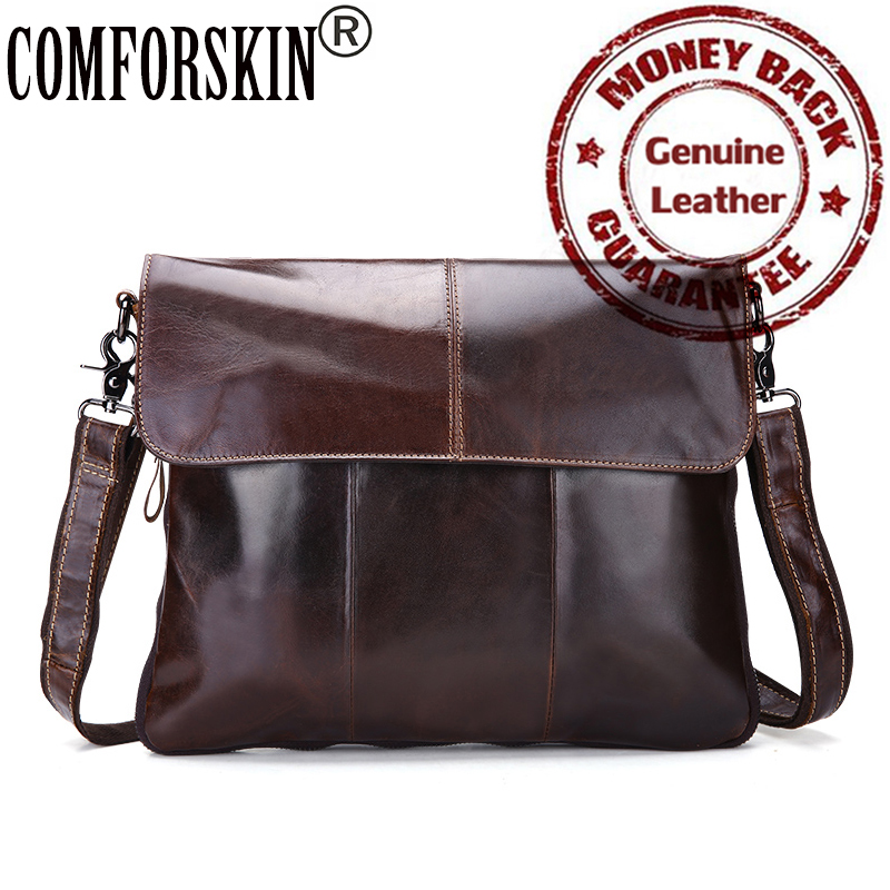 Genuine The First Layer Of Real Leather Soft Men Messenger Bags 2017 Newest Cover Style Casual Men Shoulder Bag Cross-body Bag <br>
