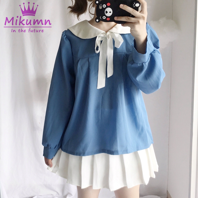 Women's Clothing Responsible Kyqiao Camisas Mujer 2019 Women Shirt Spring Japanese Style Kawaii Cartoon Long Sleeve Blue Striped Rabbit Embroidery Blouse