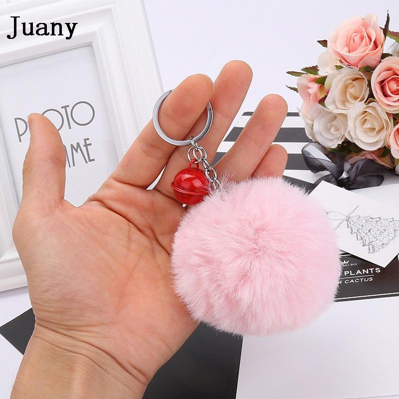 pompom key chain fluffy rabbit fur ball with bell key chain fake fur keychain women car bag key ring 17