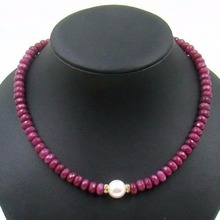 Vintage Classic Natural Stone Jewelry Handmade Rubies  Beaded Necklace with Shell Pearl Bead