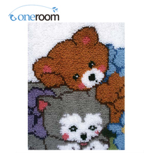 4TH ZD335 Two Bears Snuggling 4TH Hook Rug Kit DIY Unfinished Crocheting Yarn Mat Latch Hook Rug Kit Floor(China)