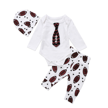 Baby Boy Rugby Romper+Pants Casual Baby Boy Clothing Set Newborn Boys Long Sleeve Tops+Pants+Hat 3pcs Outfits Babys Boys Clothes(China)