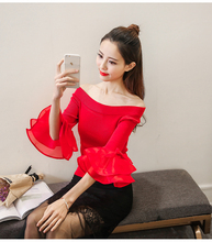 2017 autumn new short section wool shirt Slim was thin speaker sleeve sweater female sexy off shoulder sweater
