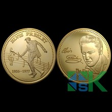 "1pcs/lot Great Singer 1OZ ELVIS PRESLEY ""THE KING OF ROCK MUSIC"" Commemorative coin 24K gold plated music coins collectibles(China)"