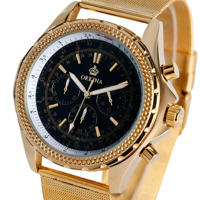 2016 New Arrival Gold Stainless Steel Mesh Strap Quartz Watches Men Luxury Analog Wrist Watch Business Watch Relogio Masculino<br>