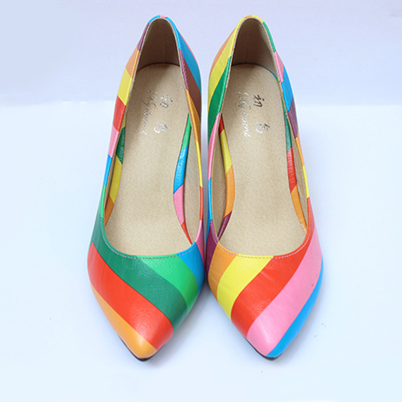 2017 Fashion Genuine Leather Shoes Woman High Heels Patchwork Sexy Casual Womens Pumps Thin Heel Rubber Outsole High Quality<br><br>Aliexpress