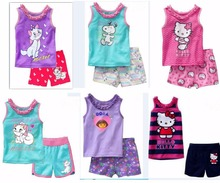 Fashion children's clothing sets Boy girl summer clothing set Dora/kitty/cat pajamas set printing shirts+casual shorts