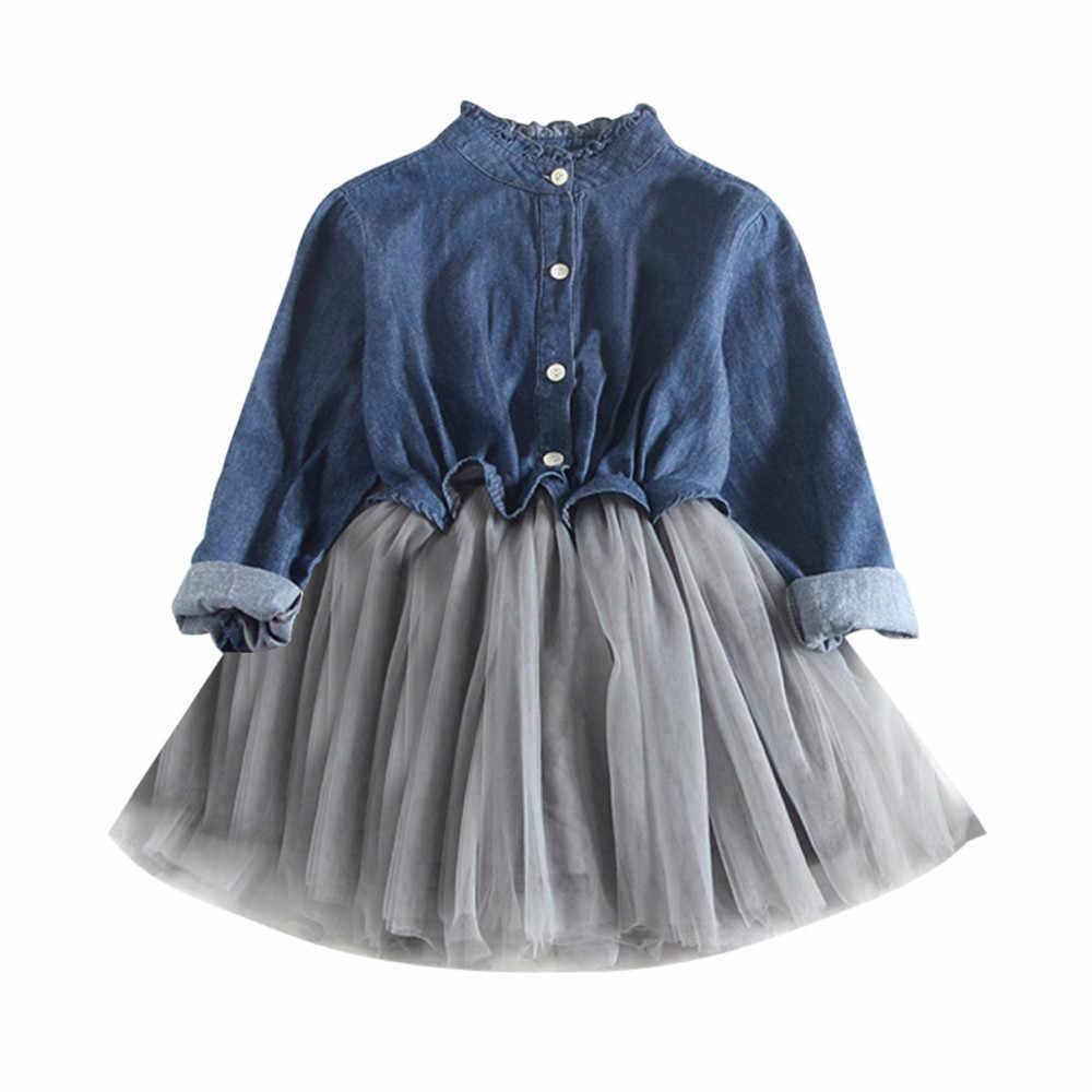 efaaa29de Detail Feedback Questions about Toddler Baby Girls Denim Dress Long Sleeve  Princess Tutu Dress Cowboy Clothes lace tutu dress suit button cardigan  dress ...