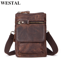 WESTAL Genuine Leather Bag Men Bags Leather Belt Waist Pack Men Messenger Bags Male Phone Small Flap Male Shoulder Crossbody Bag