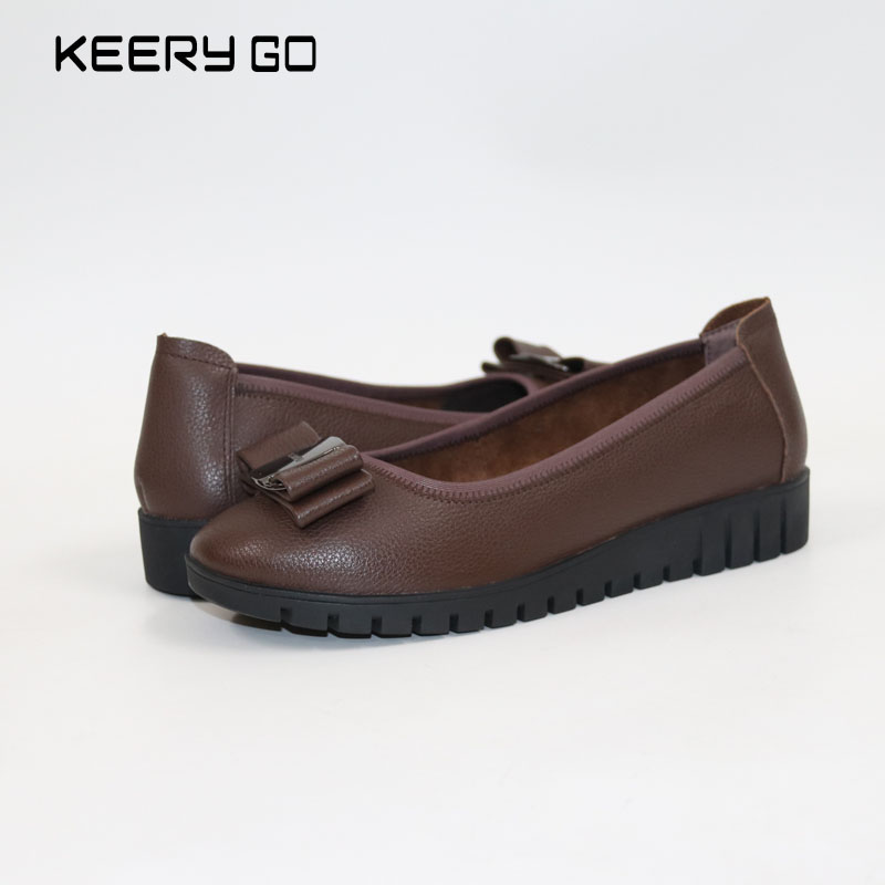 New high-end leather, soft and comfortable, feet mother shoes, bow tie flat with womens shoes Womens shoes with thick soles<br>