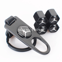 Black Jordan Air Jordan Logo Leather Buckle Valve Cap Wheel Tyre Tire Valve Dust Stems Air Caps Cover + Wrench Key Chain