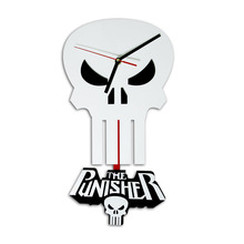 Free Shipping 1Piece The Punisher Skull Pendulum Wall Clock Marvel Hero Milatary Skull Art Home Decor Clock Punisher Time