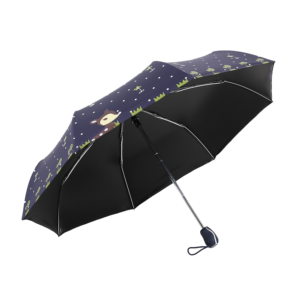Folding Umbrella Rain Women Top Quality Automatic Sun Umbrellas Anti UV  Cute Cartoon Pattern Portable Black Coating 8K Parasol - us176