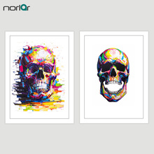 Print Poster Oil Painting Color Skull Wall Art Canvas Painting Wall Pictures For Living Room Home Decoration No Frame