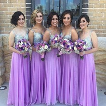 Lavender  Floor-Length Bridemaid Dresses 2017 Hot Sale  Beaded  Top  Chiffon Maid Of Honour Dress Spaghetti Straps Party Gowns