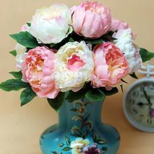 New Real touch Pink Artificial Peony Bouquet Silk Flower Home decoration Wedding Festival Party Decorative Flowers