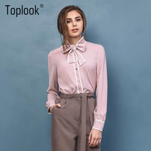 Toplook Pink Elegant Women's Blouses Tops 2017 New Fashion Bow Long Sleeve Shirt Stand Collar Casual  Ladies Office Shirts