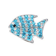 "Snap Jewelry 10PCS ""Fish"" Snap button Fit Snap Button Bracelet and Pendant Rhinestone Delicate LSSN014*10--LSSN014-6*10"