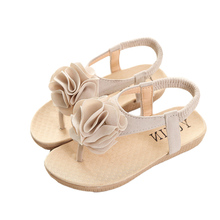Summer Girls Sandals Kids Princess Flower Dress Shoes Children Flat Beach Sandals Girls Flip Flops For Girls PU leather Shoe S69