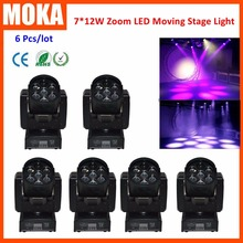 6 Pcs/lot 7X12W Led zoom Moving Head Light,7*12W LED moving head Wash light LED LCD digital display  Gobo Beam led stage light
