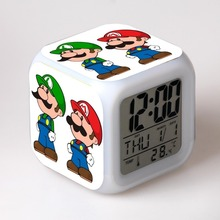 Super Mario Bro Night Clock Desk LED Digital Lamp Laptop Anime Action Figures luigi Clock Kids Toys wario waluigi(China)