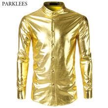 Men s Hipster Mandarin Collar Nightclub Shirt 2018 Brand New Slim Fit Bling  Shiny Gold Disco Dance Tops Costume Party Clubwear f708b9806fe3