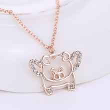 Rose New flying pigs necklaces cute crystal luck pendant necklaces for women