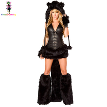 Deluxe Women Black Animal Velvet Catwoman Costumes Furry Adult Halloween Party Sexy Cat Costume Carnival Feline Bandit Kit(China)