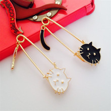 XQ Free Shipping Wagged  tail new cute cute cat pins led hair clip fashion brooch pin gold collar pin  online shopping