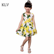 Buy Kids Girls Dress Brand Summer Beach Style Floral Print Sleeveless Vest Lemon Dress Girls Children Dresses Clothing Vestido for $4.06 in AliExpress store