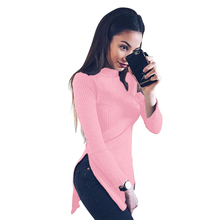 Cute Women Mini Dress Casual Work Side Slit Turtleneck Cotton Solid Elegant Spring 2017New Trendy Ladies Quality Apparels(China)
