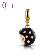 QGGLE Silver & Gold C Chocolate Pink Layer Cake Pendant & Charm Fit  Pan Bangles & Bracelets For Women DIY Jewelry