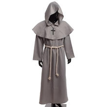 1pc Medieval Costume Men Women Vintage Renaissance Monk Cosplay Cowl Friar Priest Hooded Robe Rope Cloak Cape Clothing(China)