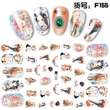 2 Sheets/lot Beautiful 3D Long Hair Floral Lady Girls Painting Adhesive Nail Art Stickers Decorations DIY Salon Tips F155#(China)