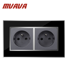 Buy MVAVA Black Mirror Series Double 16A French Socket 146 * 86MM Double French Standard Outlet FR Wall Socket Free for $14.03 in AliExpress store