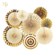 Nicro 8Pcs/Set Gold Party Decorative Creative Paper Flower Fan Handmade Striped Folding Fan Party  Supplie Wholesale