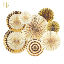 Nicro 8Pcs/Set Gold Party Decorative Creative Paper Flower Fan Handmade Striped Folding Fan Party Supplie Wholesale(China)