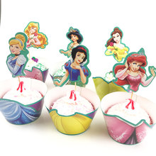 12sets Snow White Mermaid Princess Cupcake Wrapper Toppers Kids Birthday Party Supplies Cupcake Cases Baby Shower Party Supplies(China)