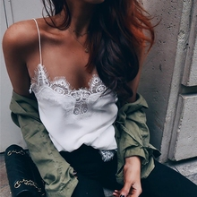New Fashion Women Satin White Tank Top Sexy Adjustable Length Strap lace bralette Camis Tops Solid regata feminina
