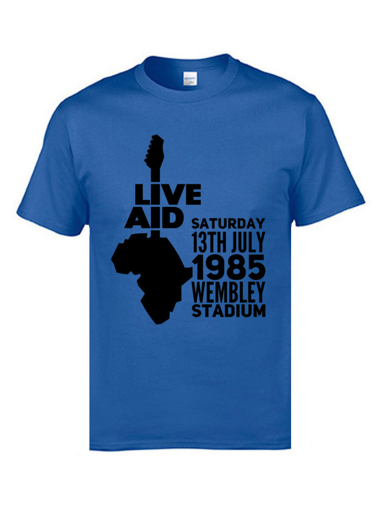 Live aid 9622 T-shirts for Men Family Labor Day Tops Shirts Short Sleeve 2018 New Slim Fit Tee-Shirt Crew Neck 100% Cotton Live aid 9622 blue