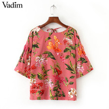 Vadim women sweet floral striped shirts backless bow tie blouses three quarter sleeve ladies summer casual tops blusas DT1176