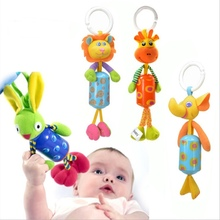 Buy Hot Sale Baby Crib Stroller Rattle Toy Plush Lion Rabbit Deer Elephant Newborn Baby Hanging Rattle Ring Bell Soft Playpen MN8 for $2.43 in AliExpress store