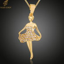 Fashion Jewelry Crystal Gem Cupper   hot popular Angel Dream Ballet Girl Dancers Figure Copper Pendants Necklaces Women 35030
