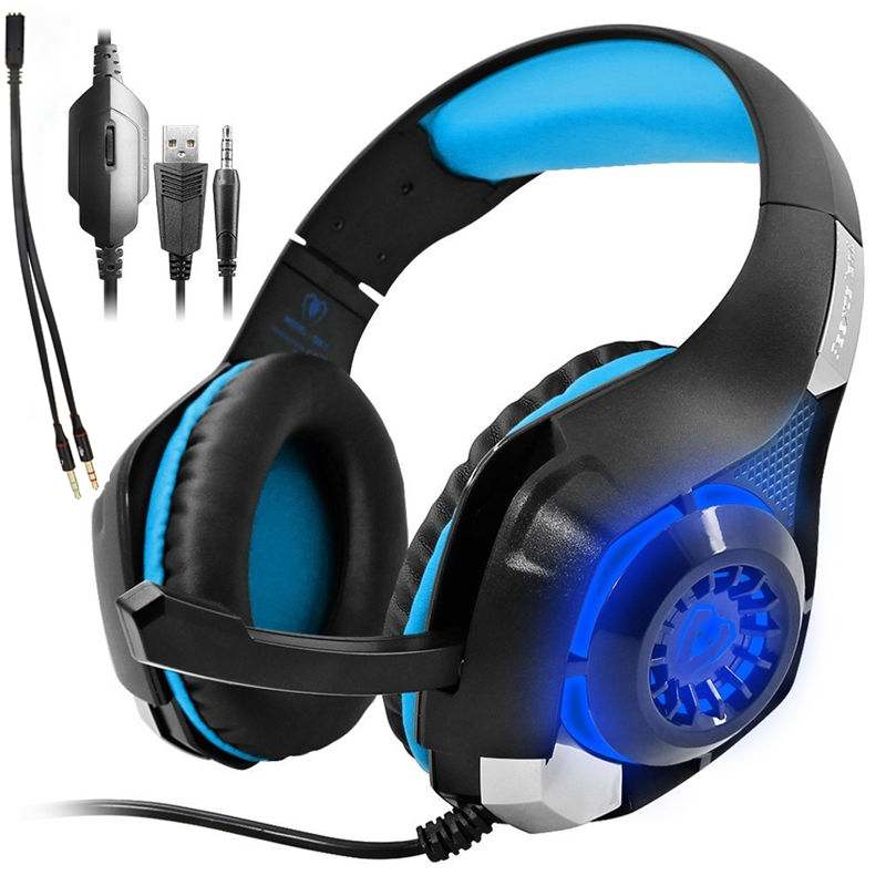 INTONE Game Headset PS4 PSP PC Headset Tablet PC Laptop Microphone, 3.5mm Headband Light Cool Headphone and Adapter Cable<br>